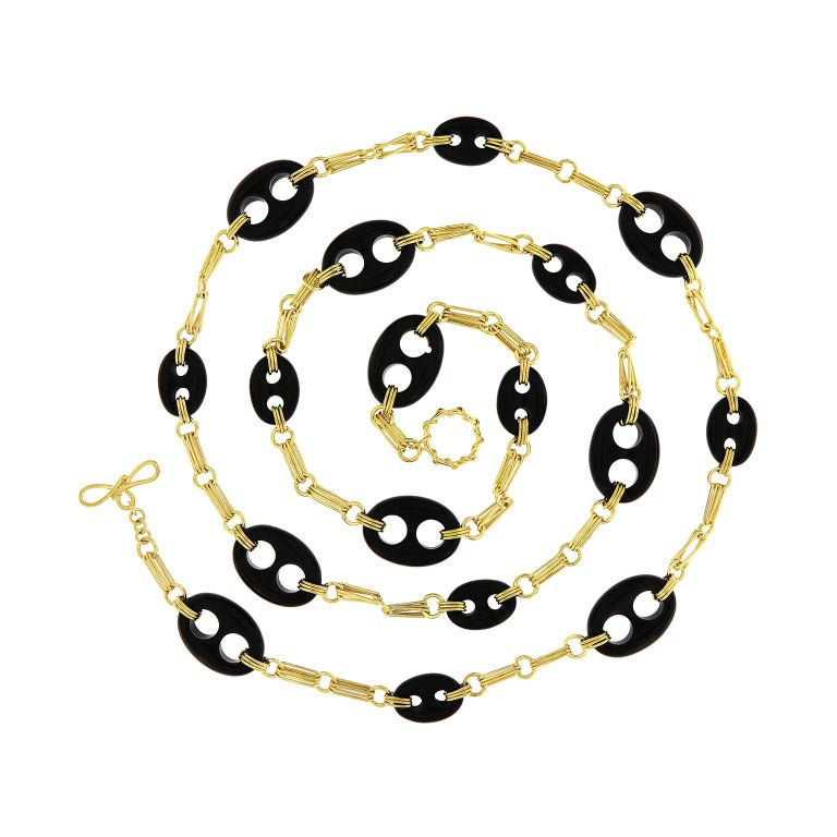 Valentin Magro Black Onyx 18 Karat Yellow Gold Chain Necklace For Sale