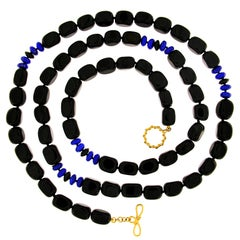 Valentin Magro Black Onyx and Lapis Necklace