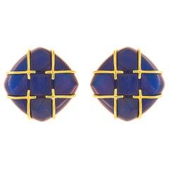 Valentin Magro Blue Agate Tic Tac Toe Earrings
