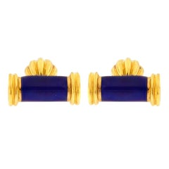 Valentin Magro Blue Enamel Gold Bar Cufflinks
