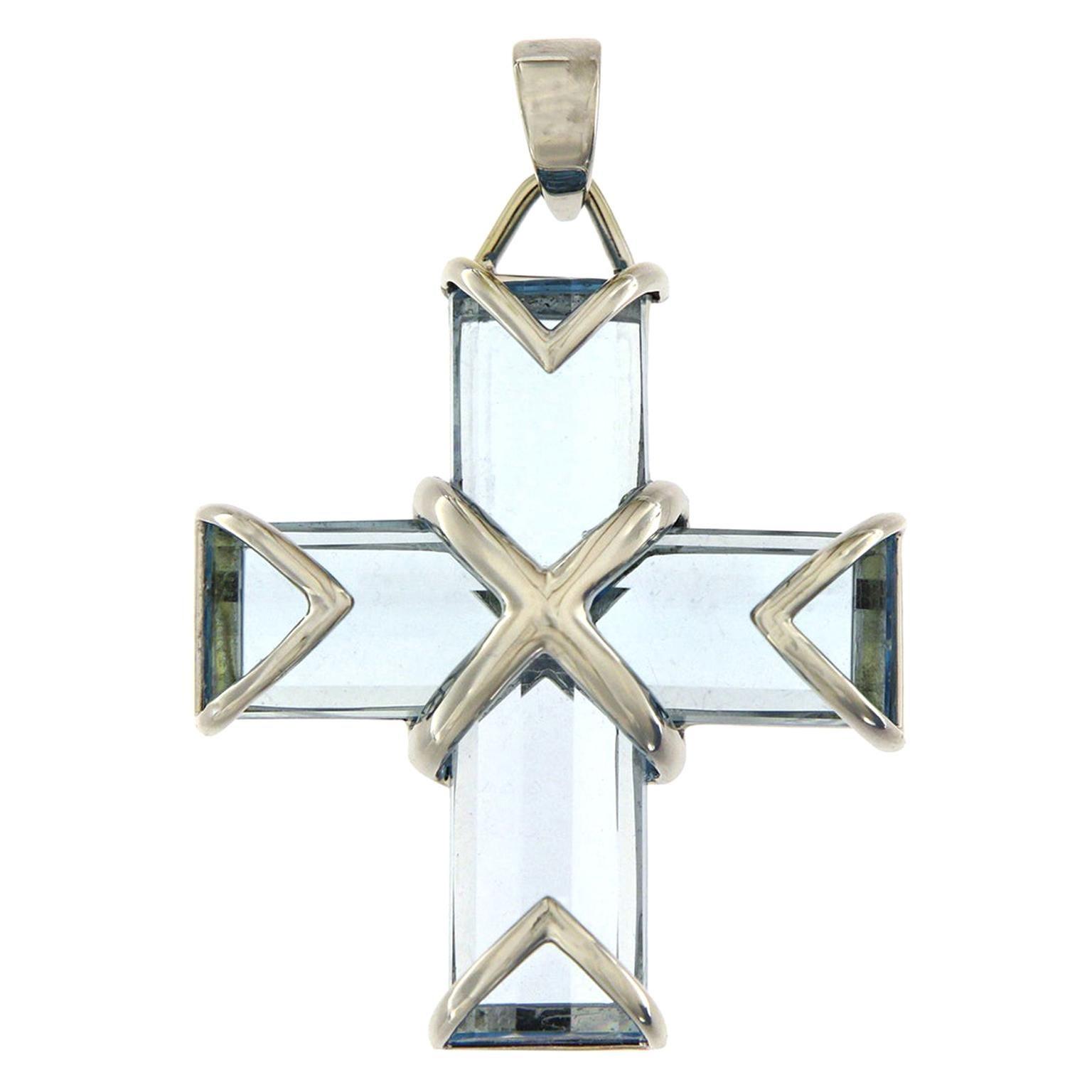 Valentin Magro Blue Topaz Cross Pendant
