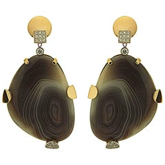 Valentin Magro Botswana Agate Diamond Drop Earrings