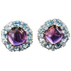 Valentin Magro Cabochon Amethyst, Aquamarine and Diamond Clip-On Earrings