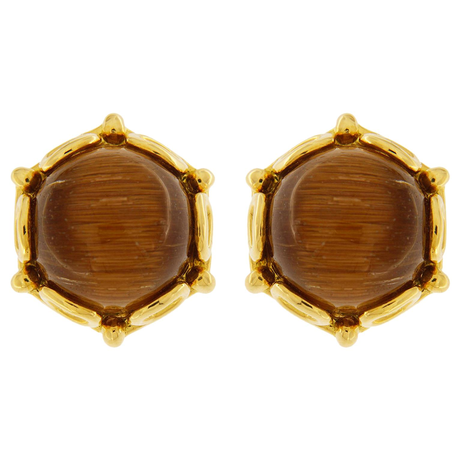 Valentin Magro Cabochon Rutilated Quartz Earrings