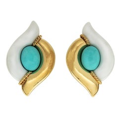 Valentin Magro Cacholong and Turquoise Gold Earrings
