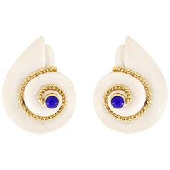 Valentin Magro Cacholong Opal Lapis Lazuli Snail Earrings