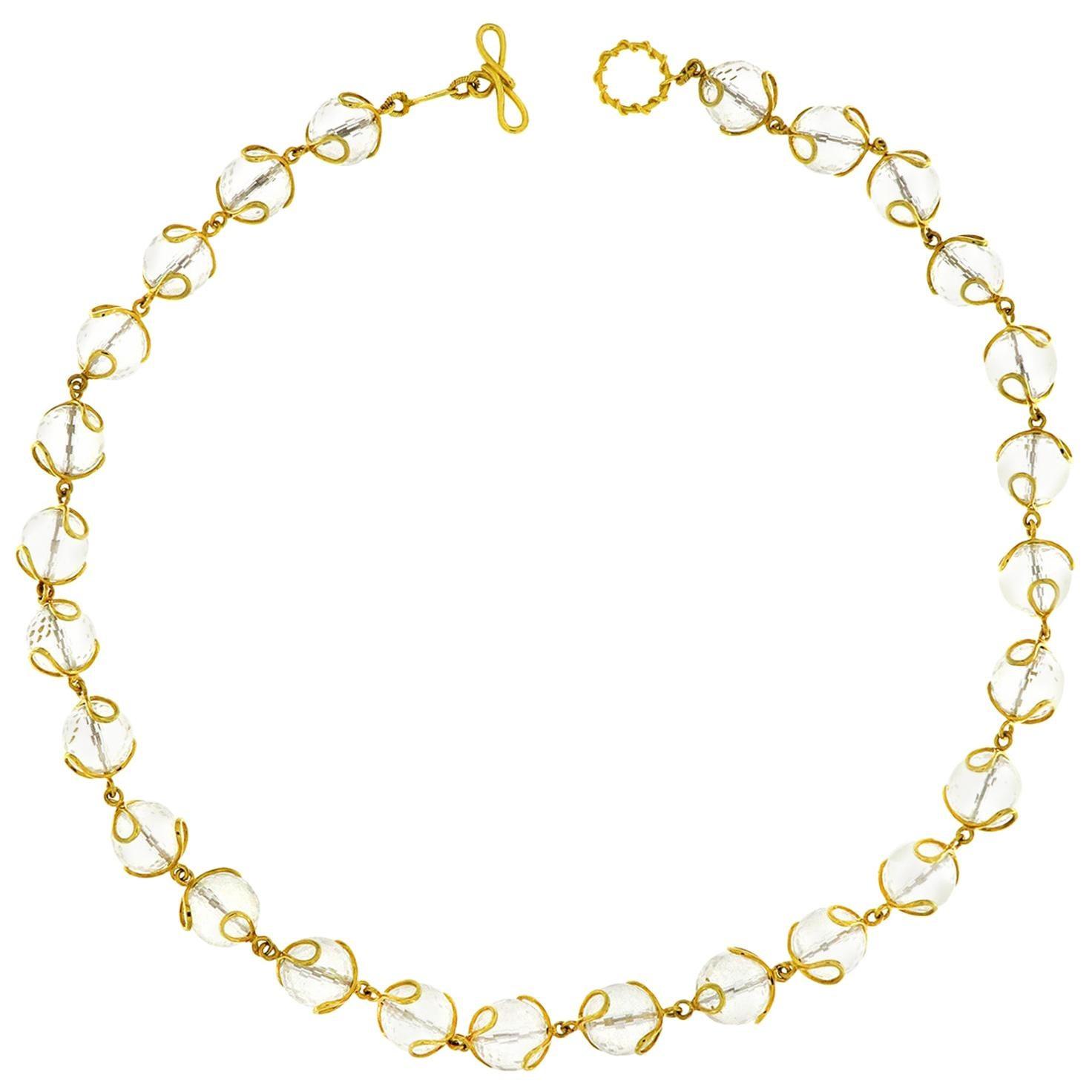 Valentin Magro Carina Crystal Ball Gold Necklace