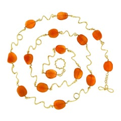 Valentin Magro Carnelian 18 Karat Yellow Gold Wave Necklace