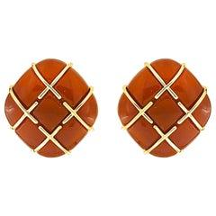 Valentin Magro Carnelian Cabochon Tic Tac Toe Earrings