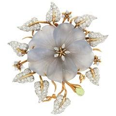 Valentin Magro Carved Chalcedony Flower Diamond Gold Leaf Brooch