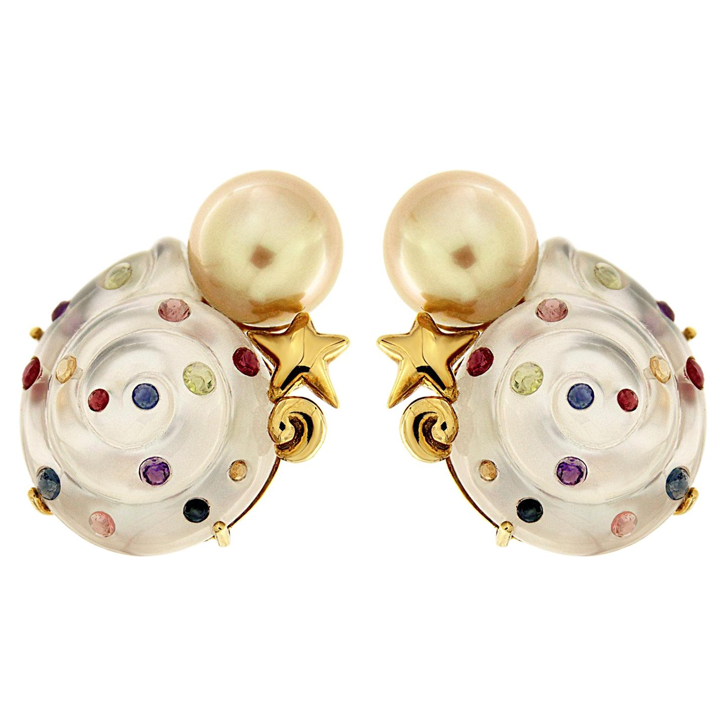 Valentin Magro Carved Crystal Pearl Colored Gemstone Earrings