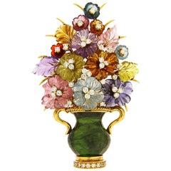 Valentin Magro Carved Flower Citrine Diamond Gold Brooch