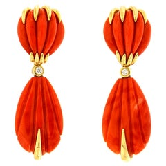 Valentin Magro Carved Red Coral Earrings with Gold Accent Wires