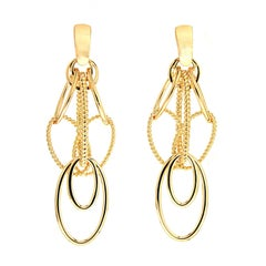 Valentin Magro Cascading Oval Twisted and Plain Wire Gold Earrings 'Small'