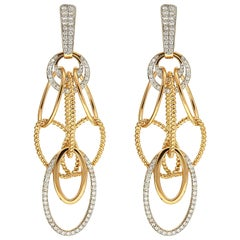 Valentin Magro Cascading Oval Twisted and Plain Wire Diamond Gold Earrings