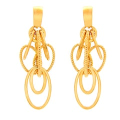 Valentin Magro Cascading Oval Twisted and Plain Wire Gold Earrings, Small