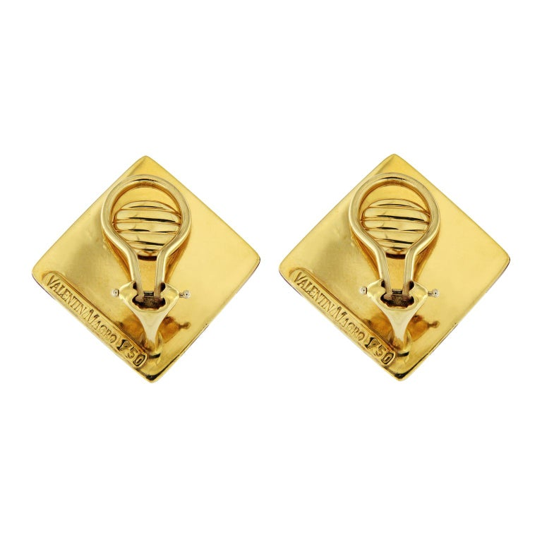 Valentin Magro Checkerboard Jasper Inlay Gold Earrings In New Condition For Sale In New York, NY