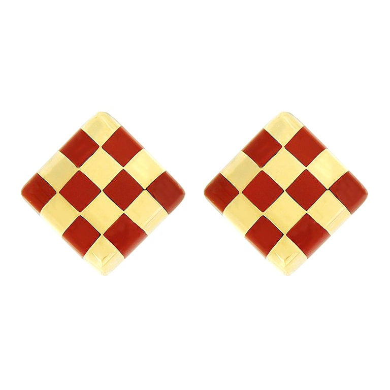 Valentin Magro Checkerboard Jasper Inlay Gold Earrings For Sale