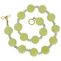 Valentin Magro Chrysoprase and Aquamarine Gold Necklace