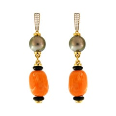 Valentin Magro Chunky Coral and Tahitian Pearl Earrings