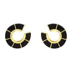 Valentin Magro Circular Bypass Black Jade and Yellow Gold Earrings