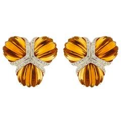 Valentin Magro Citrine Diamond Triple Fan Earrings