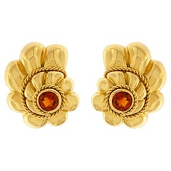 Valentin Magro Citrine Gold Shell Twisted Wire Earrings