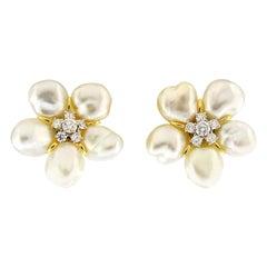 Valentin Magro Cluster Keshi White Pearl Diamond Earrings