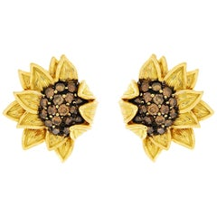 Valentin Magro Cognac Diamond Gold Sunflower Earrings