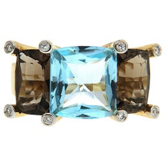 Valentin Magro Colori Blue and Brown Topaz Three-Stone Ring