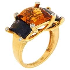 Valentin Magro Colori Citrine Iolite Diamond Gold Three-Stone Ring