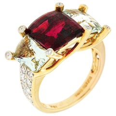 Valentin Magro Colori Rubellite Green Beryl Diamond Gold Three-Stone Ring
