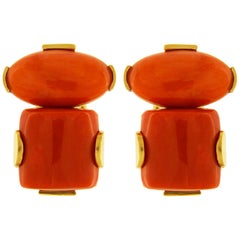 Valentin Magro Coral 18 Karat Yellow Gold Earrings