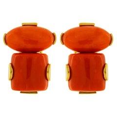 Valentin Magro Coral 18 Karat Yellow Gold Earrings
