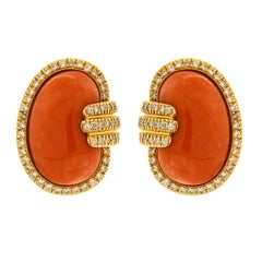 Valentin Magro Coral and Diamond Gold Bean Earrings