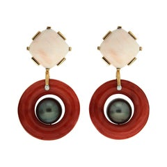 Valentin Magro Coral and Tahitian Pearl Earrings