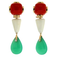 Valentin Magro Coral, White Trapezoid and Chrysoprase Gold Drop Earrings