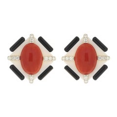 Valentin Magro Coral, Black Onyx and Diamonds Earrings