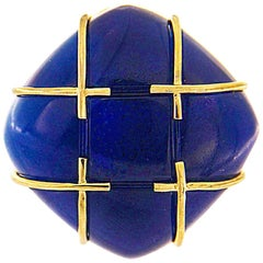 Valentin Magro Criss-Cross Blue Agate Ring
