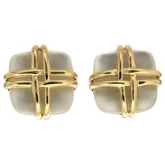 Valentin Magro Crystal Mother of Pearl Square Yellow Gold Woven Wire Earrings