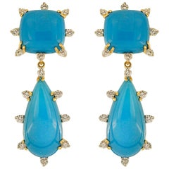 Valentin Magro Cushion and Tear Drop Sleeping Beauty Turquoise Earrings