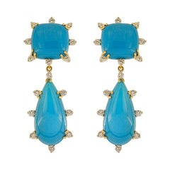 Valentin Magro Cushion and Tear Drop Sleeping Beauty Turquoise Earrings