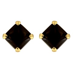 Valentin Magro Cushion Black Jade Button Earrings with Corner Claws