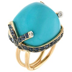 Valentin Magro Cushion Cabochon Turquoise and Sapphires Ring