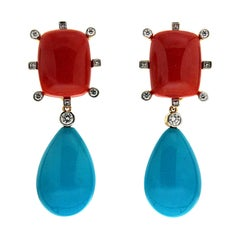 Valentin Magro Cushion Coral and Tear Drop Turquoise Earrings