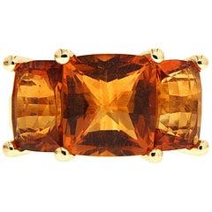 Valentin Magro Cushion Madeira Citrine Three-Stone Ring