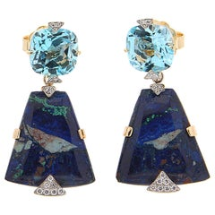 Valentin Magro Cushion Topaz Diamond Azurite Malachite Drop Earrings