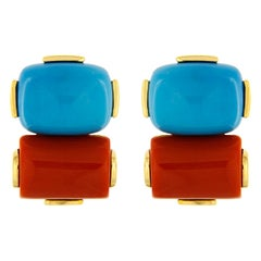 Valentin Magro Cushion Turquoise and Rectangular Coral Earrings