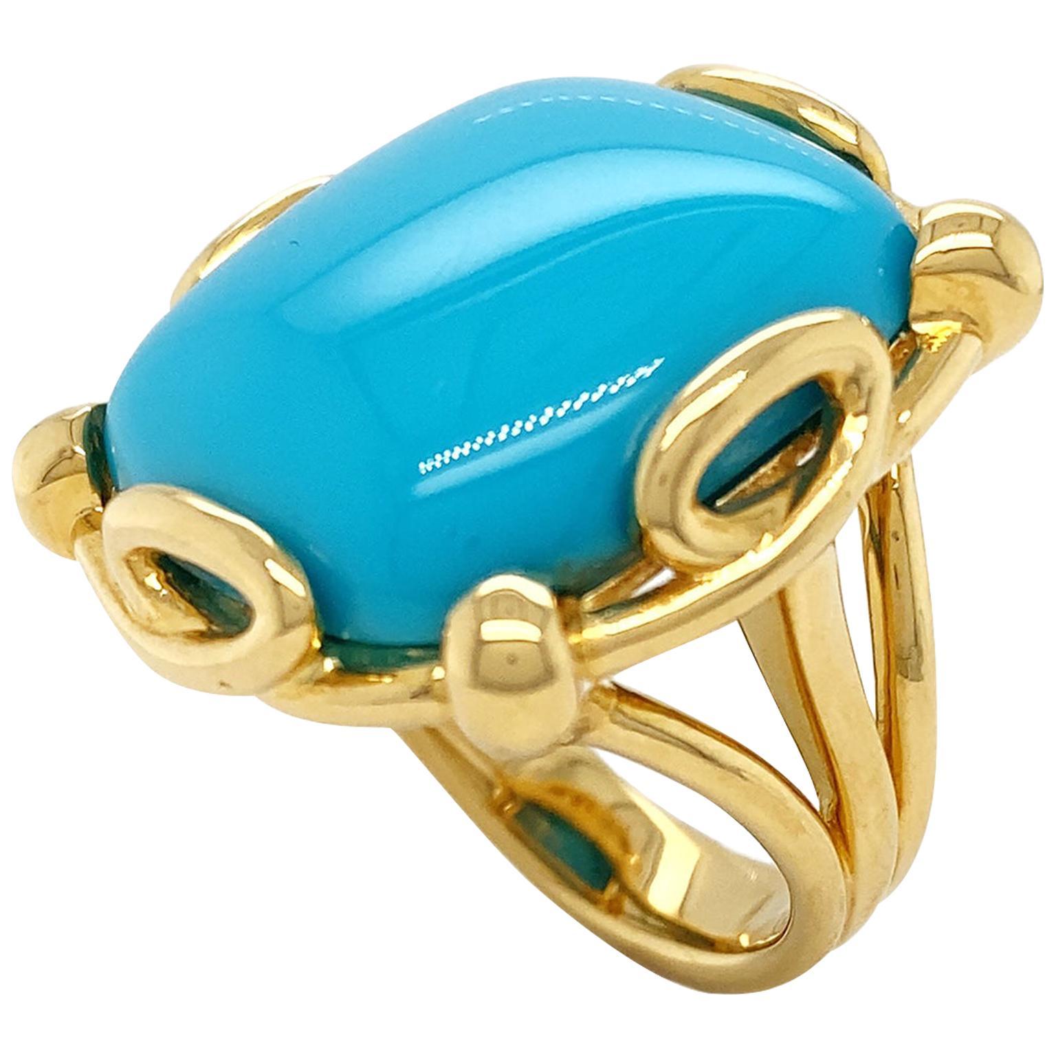 Valentin Magro Cushion Turquoise Split Shank Ring