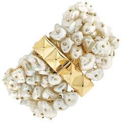 Valentin Magro Dangling White Keshi Pearl Bracelet